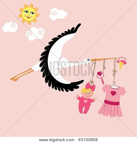 Stork  Flying With Items For Newborn Baby Girl