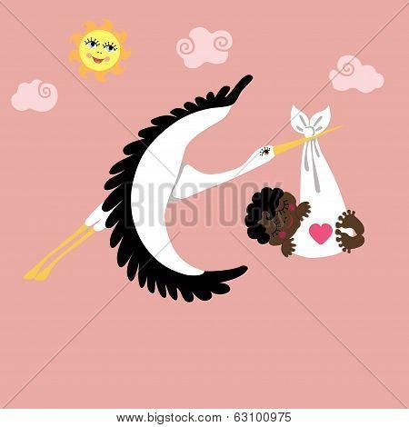 Stork With Mulatto Newborn Baby Girl Flying In Sky