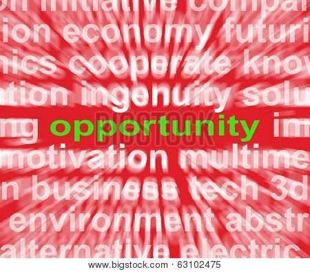 Opportunity Word Shows Good Chance Or Favourable Circumstances