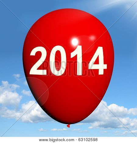 Two Thousand Fourteen On Balloon Shows Year 2014