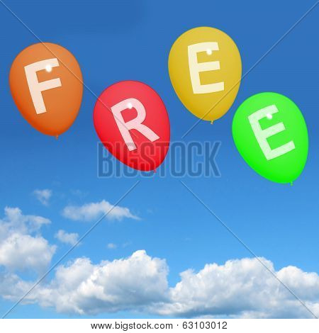 Four Free Balloons Represent Gratis And No Charge