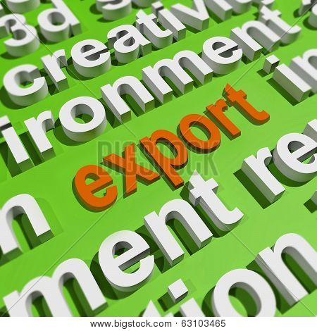 Export In Word Cloud Means Sell Overseas Or Trade