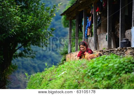 Nepali Woman In The Annapurna Mountains