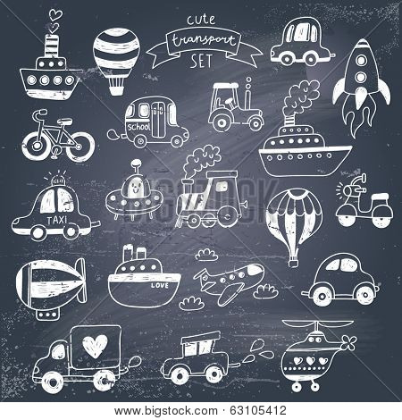 Big doodled transportation icons collection in black-and-white. Travel set with retro cars, air-balloons, ships, bike, helicopter and train. Graphic vintage set on chalkboard background.
