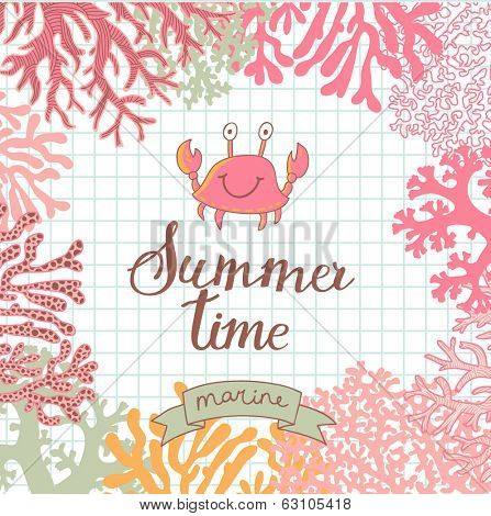 Vector seamless vector background with cute crab. Beautiful corals in the sea. Underwater landscape. Coral reef frame. Summer time