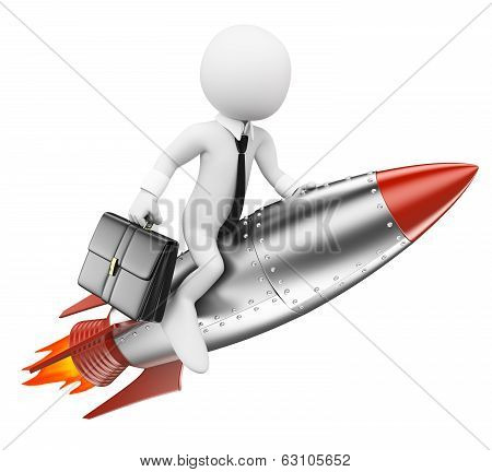 3D White People. Businessman On A Rocket