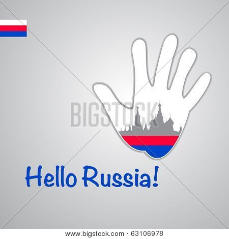 Template - hello Russia. Background-hand with the flag of Russia and Moscow major attractions - Kremlin and St. Basil's Cathedral . Vector