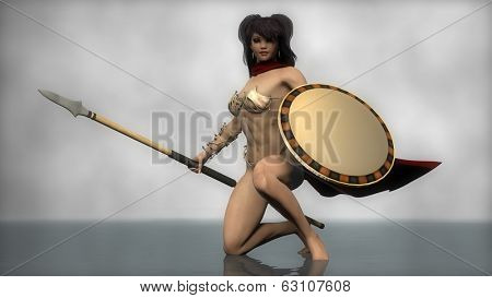 sparts warrior girl with spear and shield
