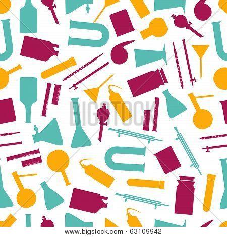 chemistry laboratory glassware color pattern eps10