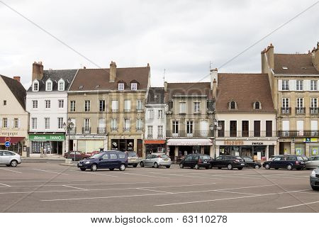The Row Of Ancient Houses On The Central Square In The Historical Center Of Autun