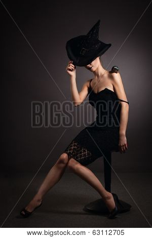 Woman With Snail In Hat. Fashion. Gothic