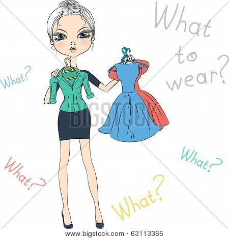 Vector Seriousl Fashion Girl Top Model Trying On Dresses