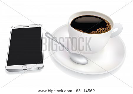 Cup of coffee and mobile phone