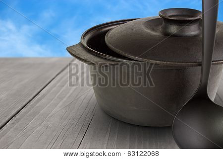 Cauldron in outdoors