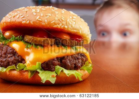 Kid with burger