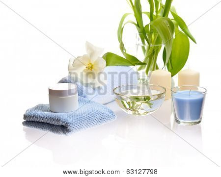 hygiene and spa treatment. isolated on white background