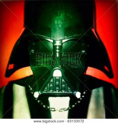 NEW YORK CITY - APRIL 9, 2014: Close up of 31 inch Darth Vader mask photographed with an iPhone App. Filter applied.