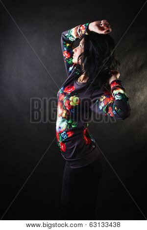 Pretty Sexy Brunette In A Flower Sweatshirts
