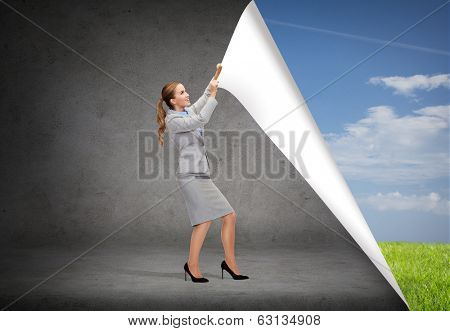 business and education concept - smiling businesswoman changing sceneries