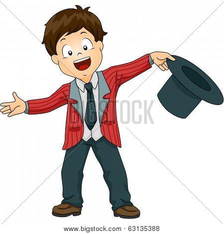 Illustration of a Little Boy Holding a Top Hat Welcoming the Audience