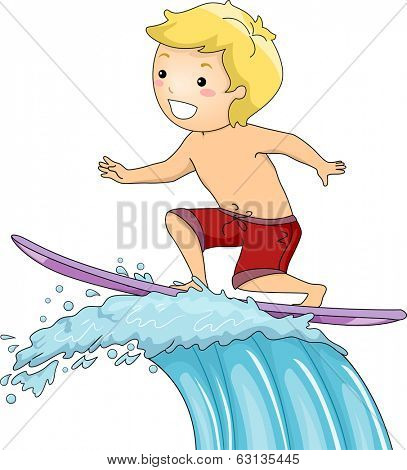 Illustration of a Little Boy on a Surfboard Riding a Huge Wave