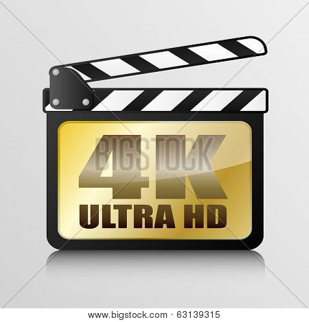detailed illustration of a clapper board with 4k Ultra HD writing, eps10 vector