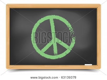 detailed illustration of a green peace symbol on a blackboard, eps10 vector, gradient mesh included