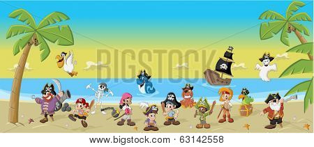 Group of cartoon pirates with funny animals on a beautiful tropical beach