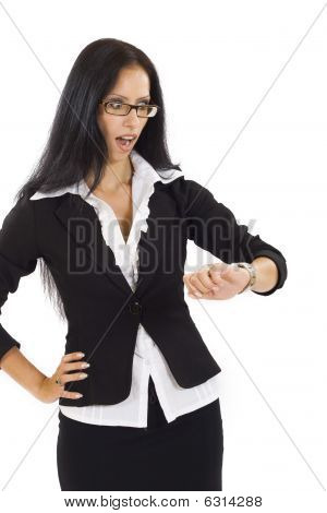 Attractive Businesswoman Checking Time