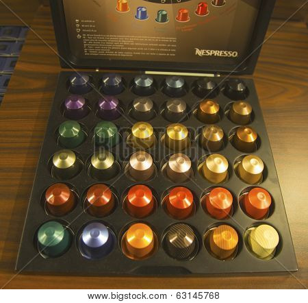 Variety of coffee capsules in Nespresso store in New York