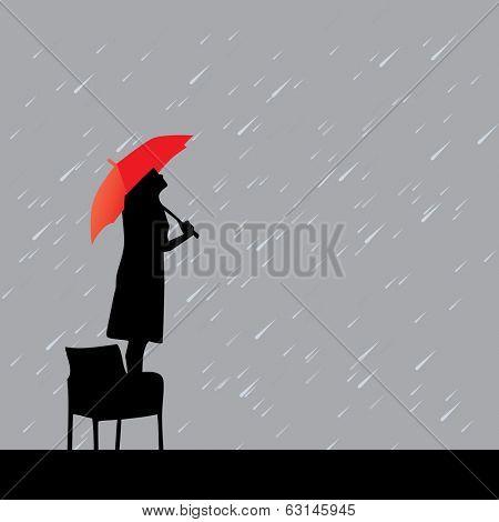 woman with red umbrella under rain vector illustration
