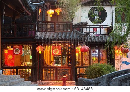Lijiang Dayan Old Town At Night .