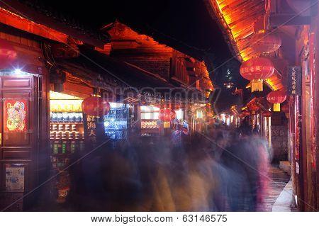 Lijiang Dayan Old Town At Night.