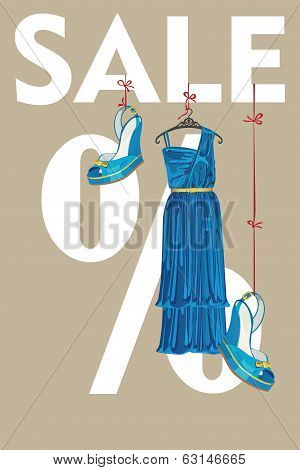 Sale Design Template.blue Party Dress And High Heeled Shoes