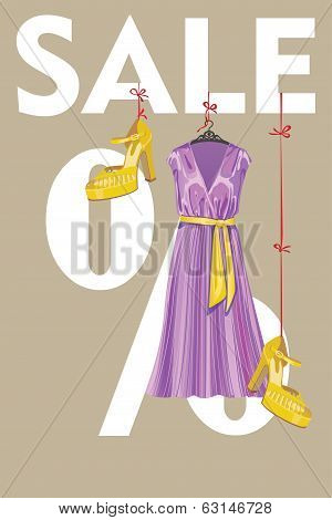 Sale Design Template.lilac Party Dress And High Heeled Shoes