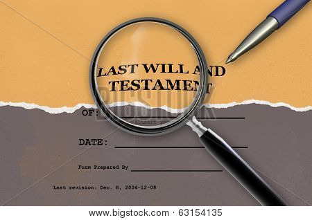 Close Up Of Magnifying Glass Of Last Will And Testament