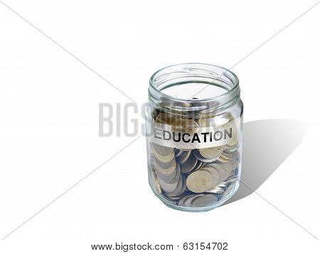 Education  Savings Money In Jar