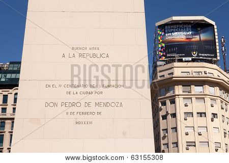 BUENOS AIRES, ARGENTINA - MAR 15 2014 : The Obelisk inscription marks the foundation of Buenos Aires