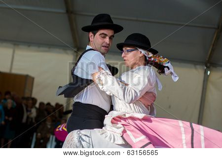 MERTOLA, PORTUGAL - MARCH 29: An unidentified children performs a Traditional Portuguese folkloric music on stage at river fish festival  MARCH 29, 2014 in Mertola, Portugal.