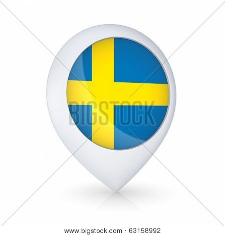 GPS icon with Swedish flag.