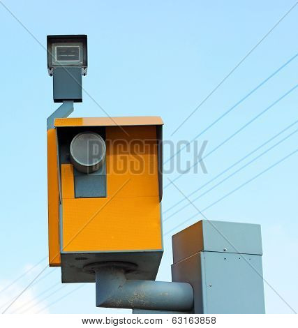 the camera a traffic speed on the blue sky background
