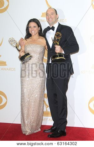 LOS ANGELES - SEP 22: Julia Louis Dreyfus, Tony Hale in the press room during the 65th Annual Primetime Emmy Awards held at Nokia Theater L.A. Live on September 22, 2013 in Los Angeles, California