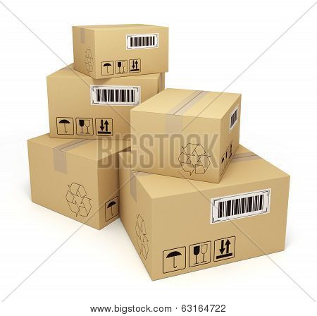 stack of cardboard boxes on isolated white background