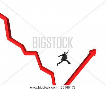 Jumping Over Gap Of Red Arrow