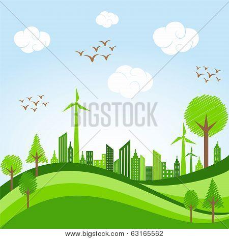 Eco cityscape -go green concept