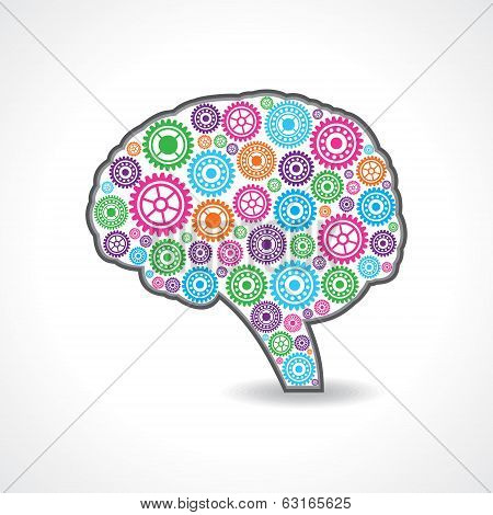 creative mind or brain with colorful gears