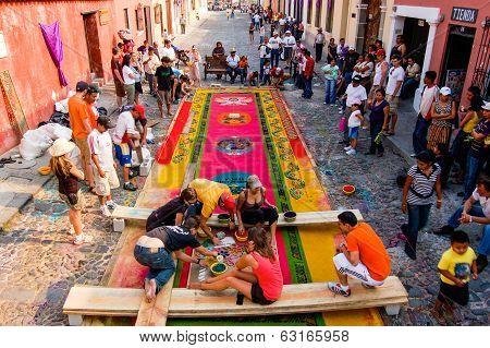 Group Making A Holy Week Carpet, Antigua, Guatemala