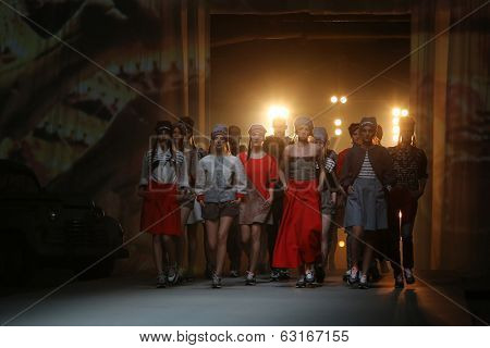 ZAGREB, CROATIA - APRIL 11: Fashion models wear clothes made by Jet Lag on