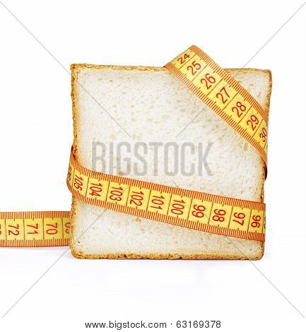 Piece Of Bread Grasped By Measuring Tape=
