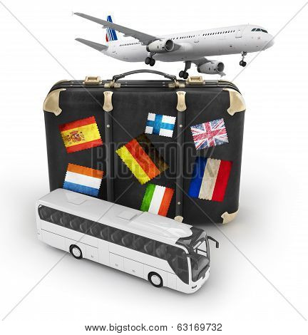 travel concept with plane, suitcase and bus